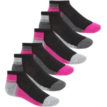 Skechers Fashion Low-Cut Socks - 6-Pack, Below the Ankle (For Little and Big Girls) in Black Combo - Closeouts