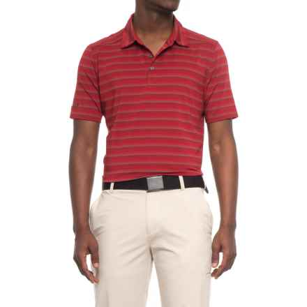 Skechers GOgolf Approach Stripe Polo Shirt - Short Sleeve (For Men) in Burgundy - Closeouts