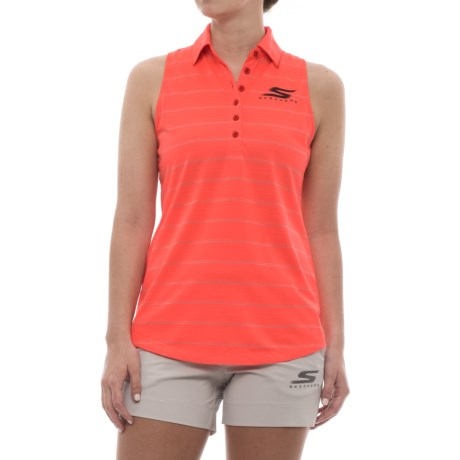 Skechers GOGolf Backswing Polo Shirt - Sleeveless (For Women) in Coral