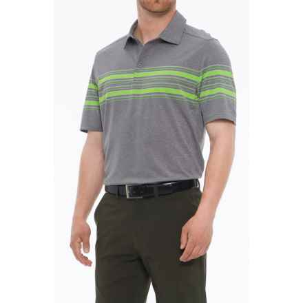 Skechers GOgolf Club Face Striped Polo Shirt - Short Sleeve (For Men) in Charcoal - Closeouts