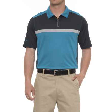 Skechers GOgolf Monterey Polo Shirt - Zip Neck, Short Sleeve (For Men) in Blue/Black - Closeouts