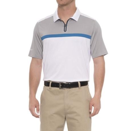Skechers GOgolf Monterey Polo Shirt - Zip Neck, Short Sleeve (For Men) in Gray/White