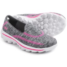 Skechers GOwalk 2 Relay Shoes - Slip-Ons (For Little and Big Girls) in Grey/Pink - Closeouts