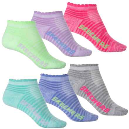 Skechers Half Terry Low-Cut Socks - 6-Pack, Below the Ankle (For Girls) in Blue/White - Closeouts