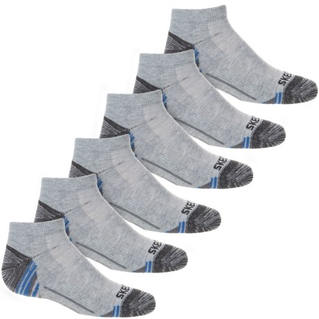 Skechers Low-Cut Socks - 6-Pack, Ankle (For Big Boys) in Grey/Blue