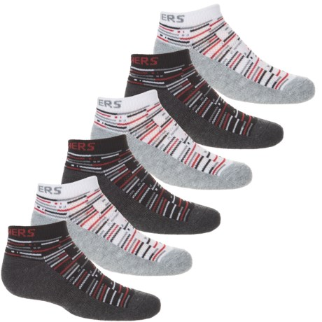 Skechers Low-Cut Socks - 6-Pack, Ankle (For Big Boys) in Grey/Red