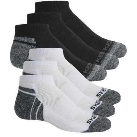 Skechers Low-Cut Socks - 6-Pack, Ankle (For Big Boys) in White/Black - Closeouts