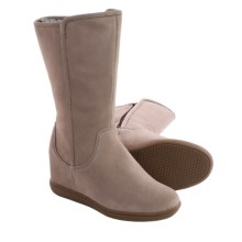 Skechers Plus 3 Pulley Suede Boots - Hidden Wedge Heel (For Women) in Dark Taupe - Closeouts