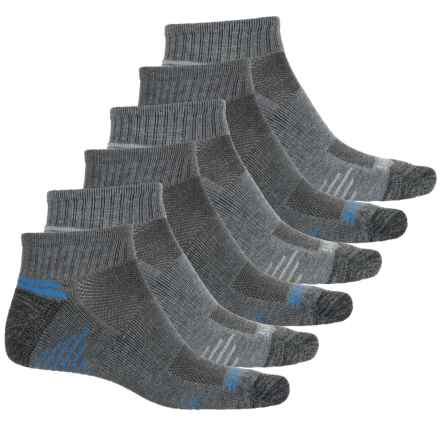 Skechers Running Socks - 6-Pack, Quarter Crew (For Men) in Grey/Blue - Closeouts