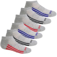 Skechers Toe Logo Socks - 6-Pack, Below the Ankle (For Little and Big Boys) in Grey/Red - Closeouts