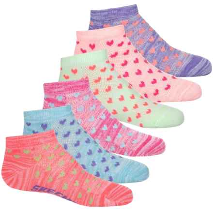 Sketchers Ankle Socks - 6-Pack (For Girls) in Bright Combo W/Hearts - Closeouts