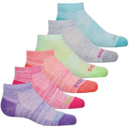 Sketchers Ankle Socks - 6-Pack (For Girls) in Bright Pink - Closeouts