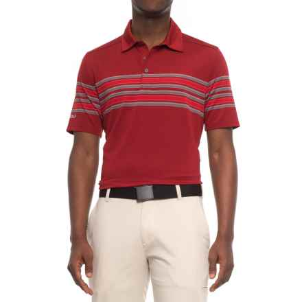 Sketchers GOgolf Club Face Striped Polo Shirt - Short Sleeve (For Men) in Burgundy - Closeouts