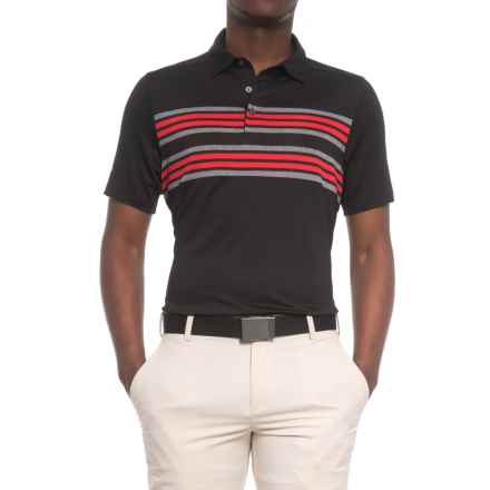 Sketchers GOgolf Folsom Stripe Polo Shirt - Short Sleeve (For Men) in Black - Closeouts