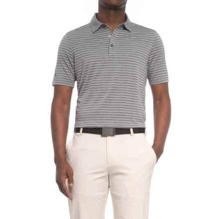 Sketchers GOgolf Striped Polo Shirt - Short Sleeve (For Men) in Charcoal - Closeouts