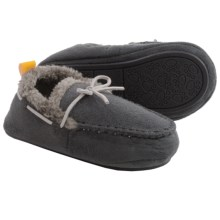 Skidders Plush Moccasin Slippers (For Infants and Toddlers) in Grey - Closeouts