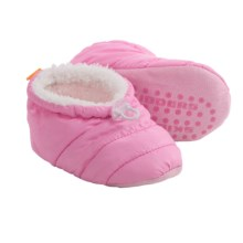 Skidders Puffy Bootie Slippers (For Infants and Toddlers) in Pink White - Closeouts