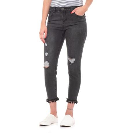Image of Skinny Crop Pom Pom Jeans (For Women)