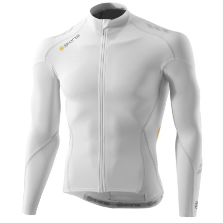 Skins C400 Compression Cycling Jersey - UPF 50+, Full Zip, Long Sleeve(For Men) in White/Grey