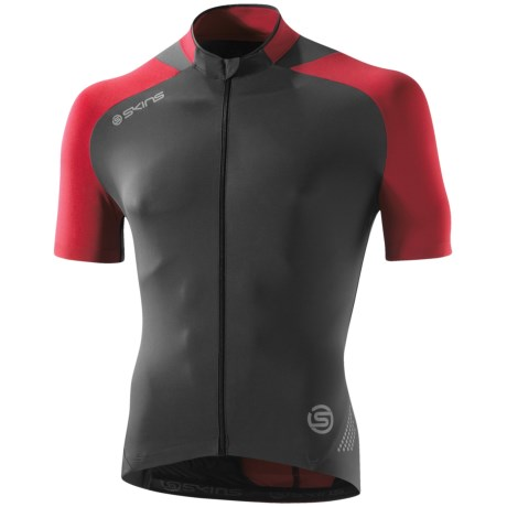 Skins C400 Cycling Jersey - UPF 50+, Full Zip, Short Sleeve (For Men) in Black/Grey