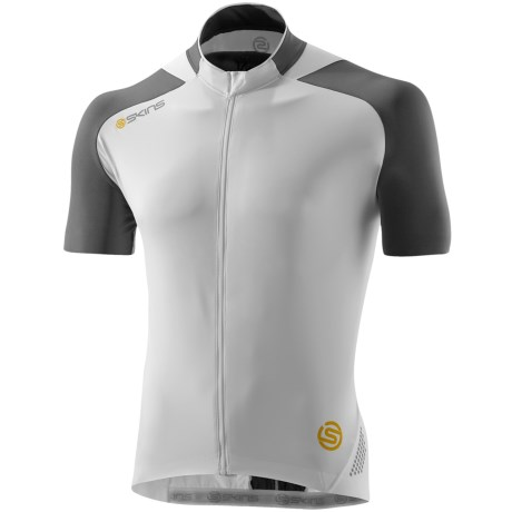 Skins C400 Cycling Jersey - UPF 50+, Full Zip, Short Sleeve (For Men) in White/Grey