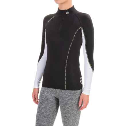 SKINS DNAmic Thermal Base Layer Top - UPF 50+, Zip Neck, Long Sleeve (For Women) in Black/Cloud - Closeouts