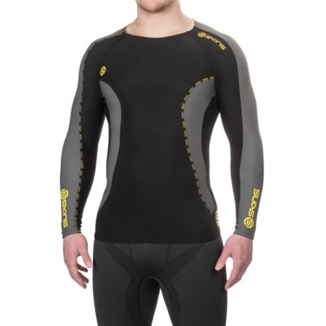 Skins DNAmic Thermal Crew Shirt - Long Sleeve (For Men) in Black/Pewter