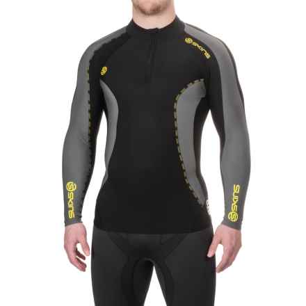 Skins DNAmic Thermal Shirt - Zip Neck, Long Sleeve (For Men) in Black - Closeouts