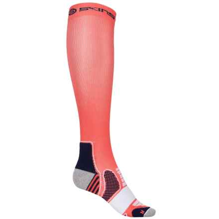 Skins Essential Active Compression Socks - Over the Calf (For Women) in Pomelo/Midnight - Closeouts