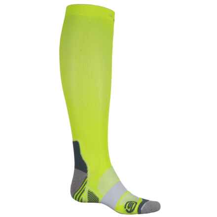 Skins Essentials Active Compression Socks - Over the Calf (For Men and Women) in Fluro Citron/Pewter - Closeouts