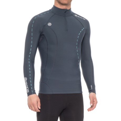 Skins Thermal Shirt - Zip Neck, Long Sleeve (For Men) in Ash