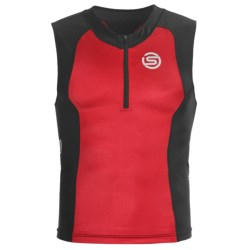 Skins Tri400 Compression Triathlon Top - UPF 50+, Sleeveless (For Men) in Red/Black