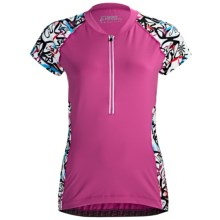 Skirt Sports Cycling Jersey - Short Sleeve (For Women) in Pink Crush/Pow Print - Closeouts