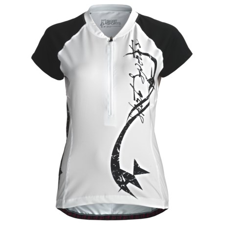 Skirt Sports Cycling Jersey - Short Sleeve (For Women) in White/Black