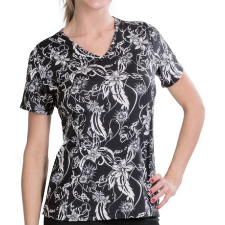 Skirt Sports Free Me T-Shirt - V-Neck, Short Sleeve (For Women) in Paradise Print