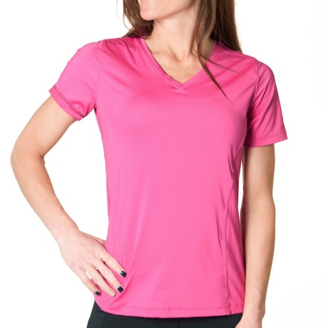 Skirt Sports Free Me T-Shirt - V-Neck, Short Sleeve (For Women) in Pink Crush