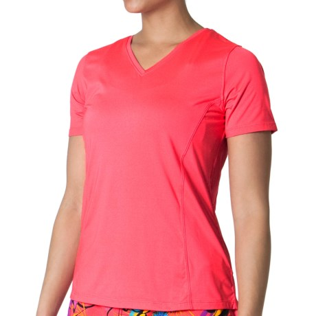 Skirt Sports Free Me T-Shirt - V-Neck, Short Sleeve (For Women) in Sunset Punch