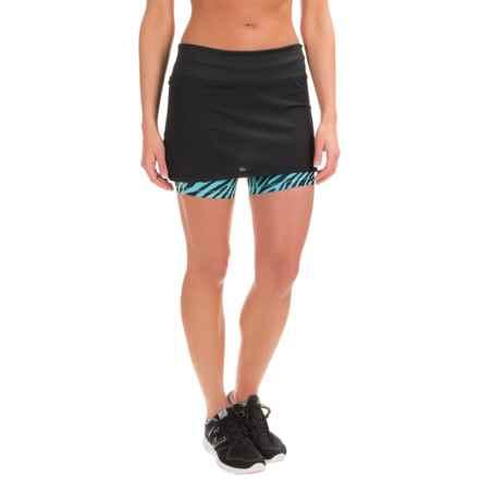 Skirt Sports Peek-A-Boo Skort - Built-In Shorts, UPF 50+ (For Women) in Black Safari Print - Closeouts