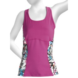 Skirt Sports Sexy Back Tank Top - Built-In Shelf Bra (For Women) in Pink Crush/Pow Print