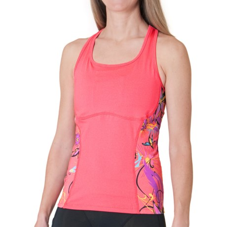 Skirt Sports Sexy Back Tank Top - Built-In Shelf Bra (For Women) in Sunset Punch/Fiesta Print