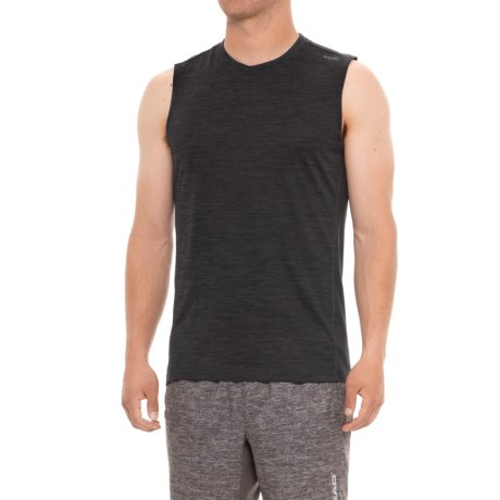 Skora Printed Heather Muscle T-Shirt - Sleeveless (For Men) in Black Heather