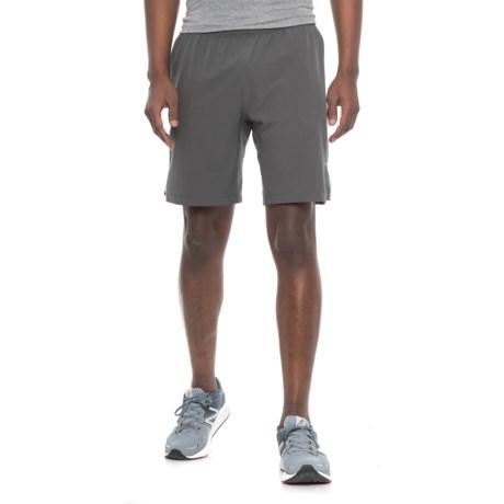 "Skora Woven Stretch Shorts - 9"" (For Men) in Grey Pinstripe"
