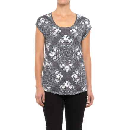 Skull Print High-Low Shirt - Short Sleeve (For Women) in Grey Skull Print - 2nds