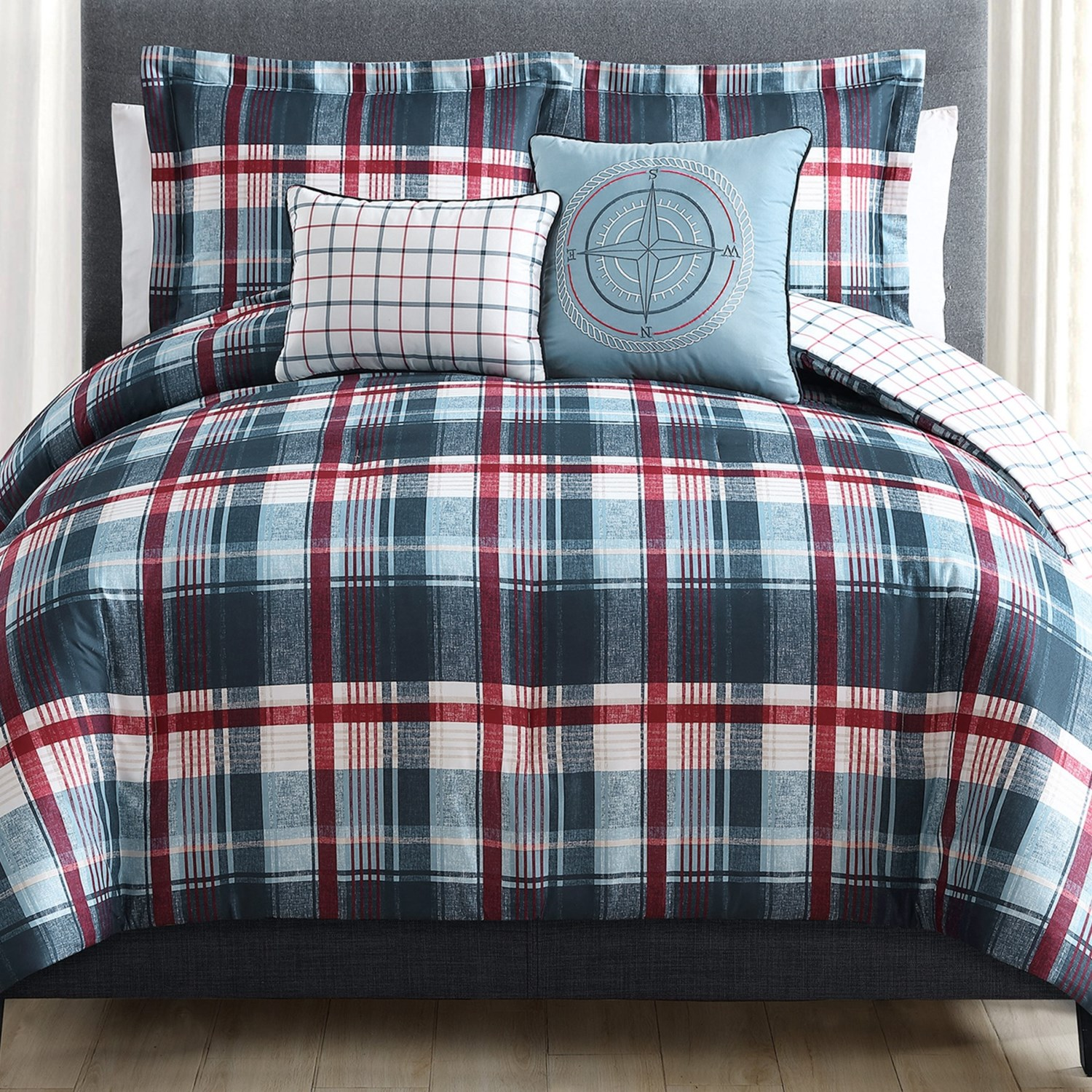 sl home fashions breezy plaid comforter set king 5piece in multi