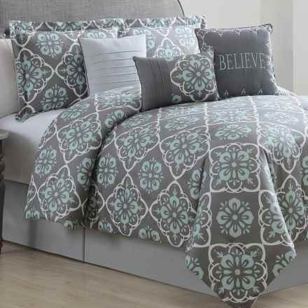 S.L. Home Fashions Bridgette Comforter Set - King, 7-Piece in Charcoal/Spa/White - Overstock