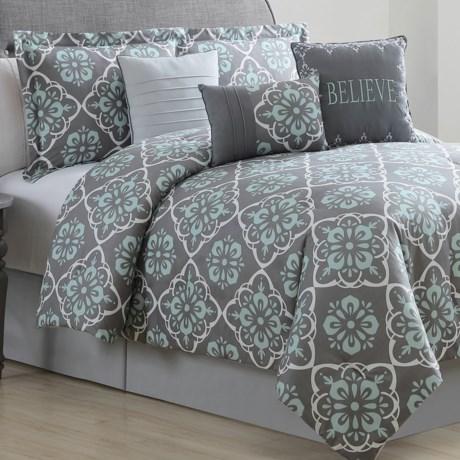 S.L. Home Fashions Bridgette Comforter Set - King, 7-Piece in Charcoal/Spa/White