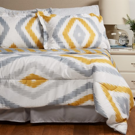S.L. Home Fashions Hampshire Comforter Set - King, 8-Piece in Grey/Yellow