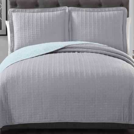 S.L. Home Fashions Huntington Quilt Set - Queen, Reversible in Light Grey/Mint - Overstock