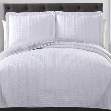 S.L. Home Fashions Huntington Quilt Set - Queen, Reversible in Whtie/Light Grey - Overstock