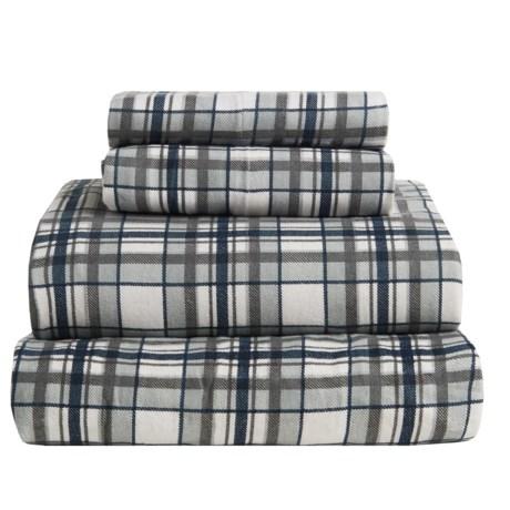 S.L. Home Fashions Johan Plaid Flannel Sheet Set - King in Grey